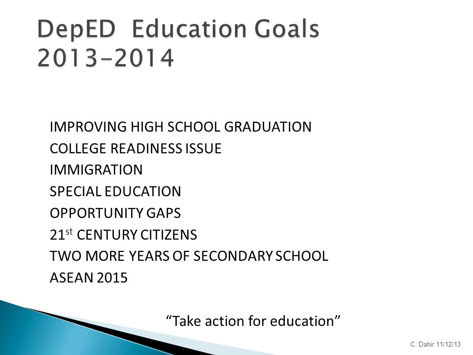 IMPROVING HIGH SCHOOL GRADUATION COLLEGE READINESS ISSUE IMMIGRATION SPECIAL EDUCATION OPPORTUNITY GAPS 21 st CENTURY CITIZENS TWO MORE YEARS OF SECON