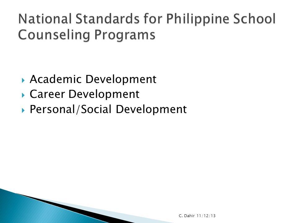 Academic Development  Career Development  Personal/Social Development C. Dahir 11/12/13