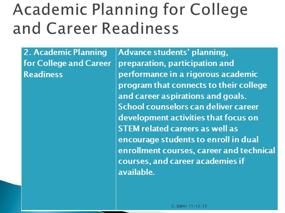 2. Academic Planning for College and Career Readiness Advance students' planning, preparation, participation and performance in a rigorous academic pr