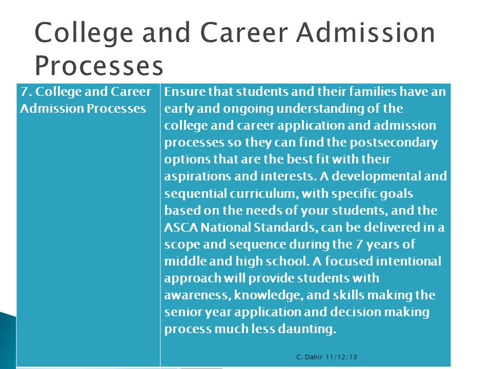 7. College and Career Admission Processes Ensure that students and their families have an early and ongoing understanding of the college and career ap