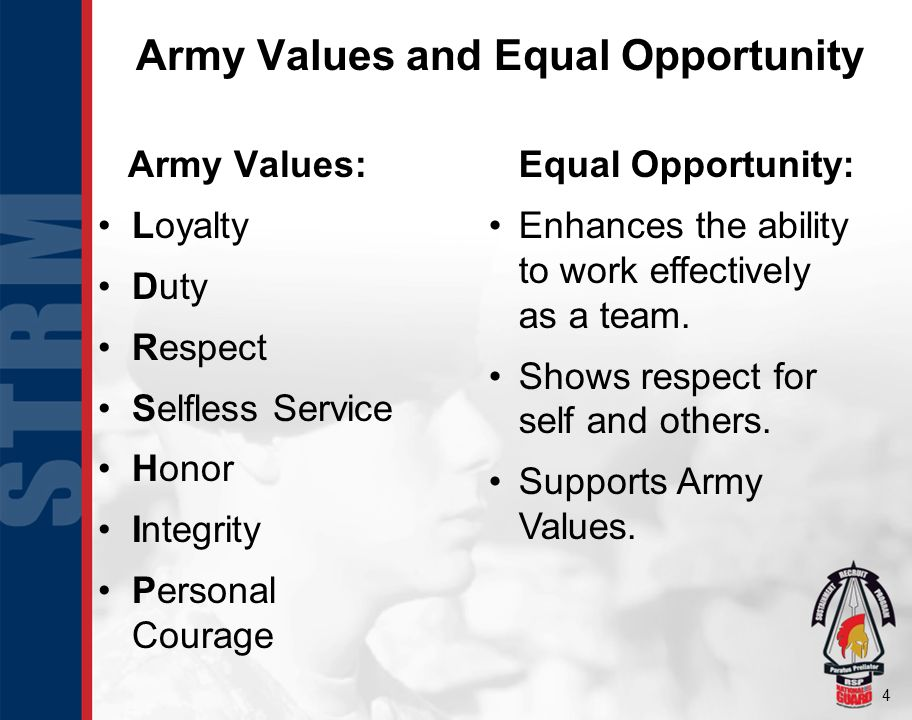 4 Army Values: Loyalty Duty Respect Selfless Service Honor Integrity Personal Courage Equal Opportunity: Enhances the ability to work effectively as a
