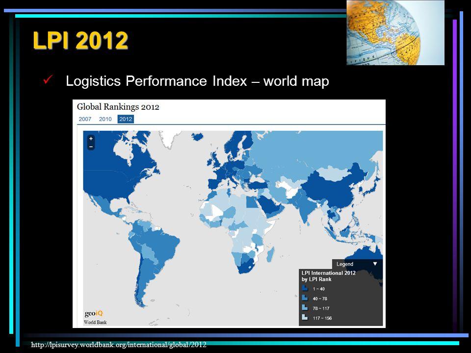 Logistics Performance Index – world map http://lpisurvey.worldbank.org/international/global/2012 LPI 2012