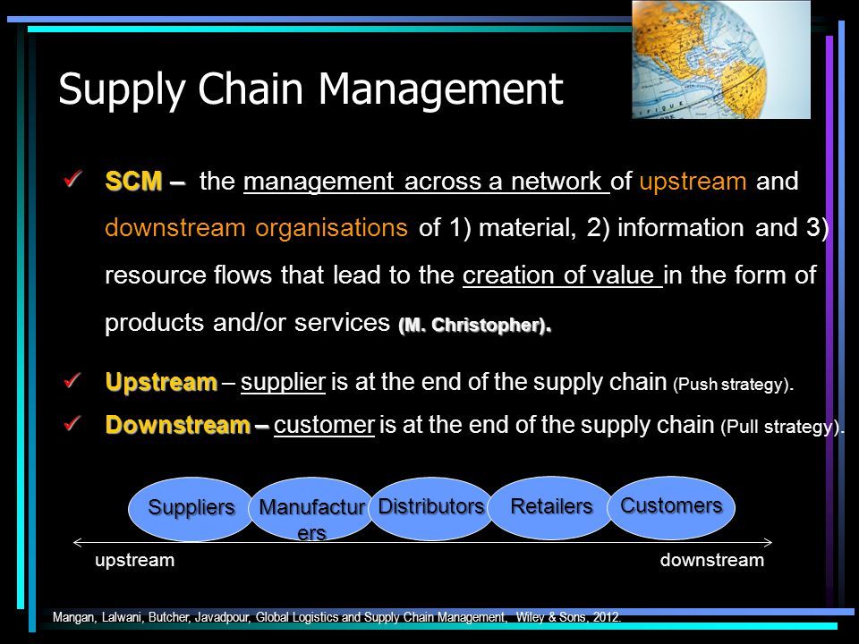 Supply Chain Management SCM – (M. Christopher). SCM – the management across a network of upstream and downstream organisations of 1) material, 2) info