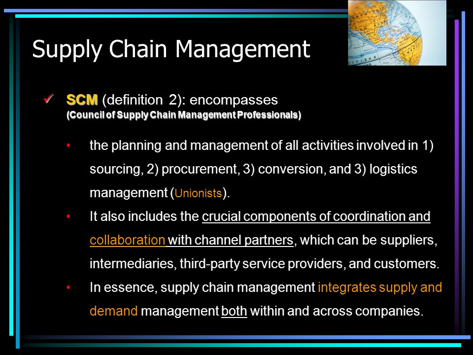 Supply Chain Management Four primary modes of INTEGRATION (SCM): Four primary modes of INTEGRATION (SCM): Internal integration: cross-functional integration within one organisation.