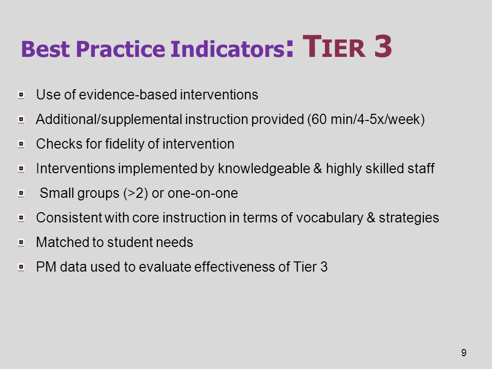 Best Practice Indicators : T IER 3 Use of evidence-based interventions Additional/supplemental instruction provided (60 min/4-5x/week) Checks for fide