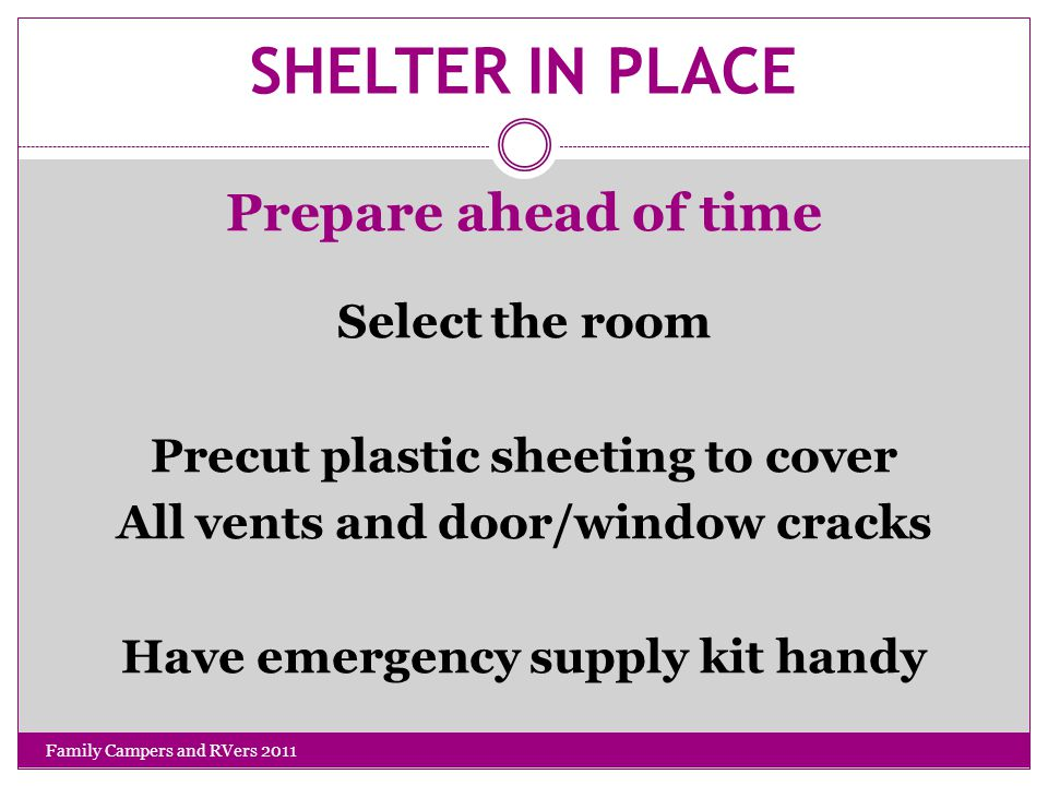 SHELTER IN PLACE Prepare ahead of time Select the room Precut plastic sheeting to cover All vents and door/window cracks Have emergency supply kit handy Family Campers and RVers 2011