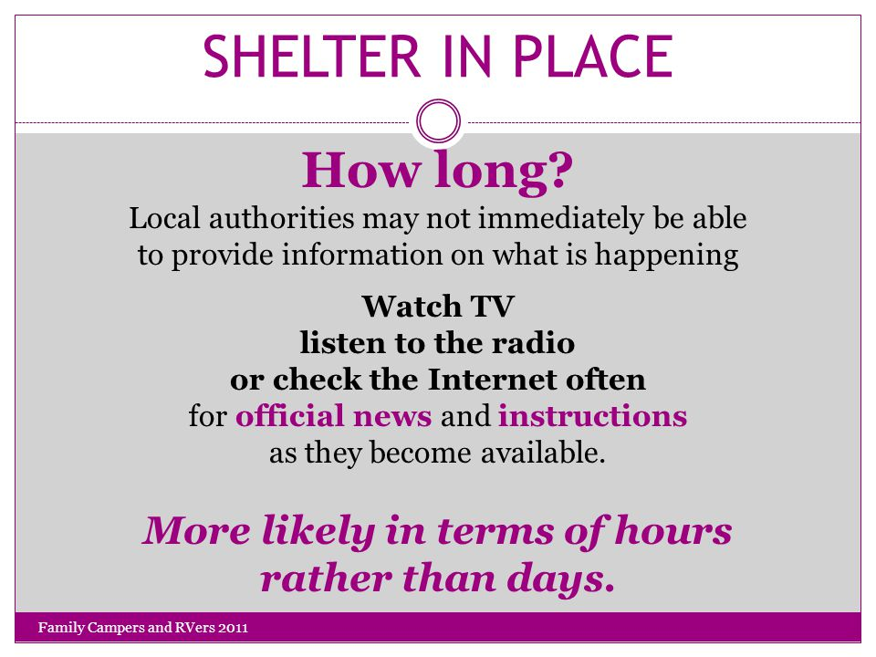 SHELTER IN PLACE How long.