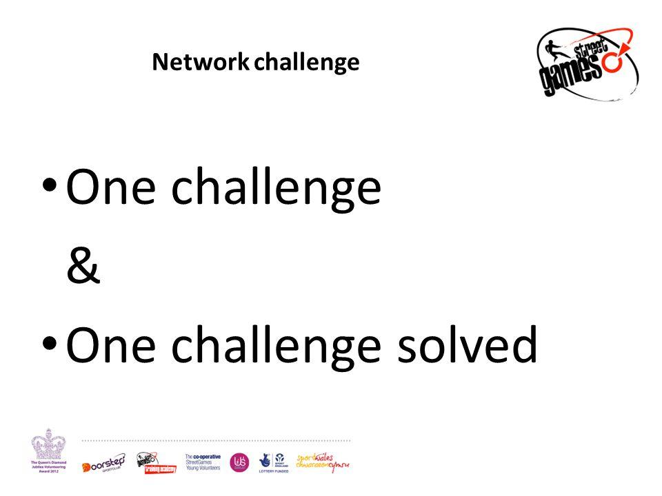Network challenge One challenge & One challenge solved