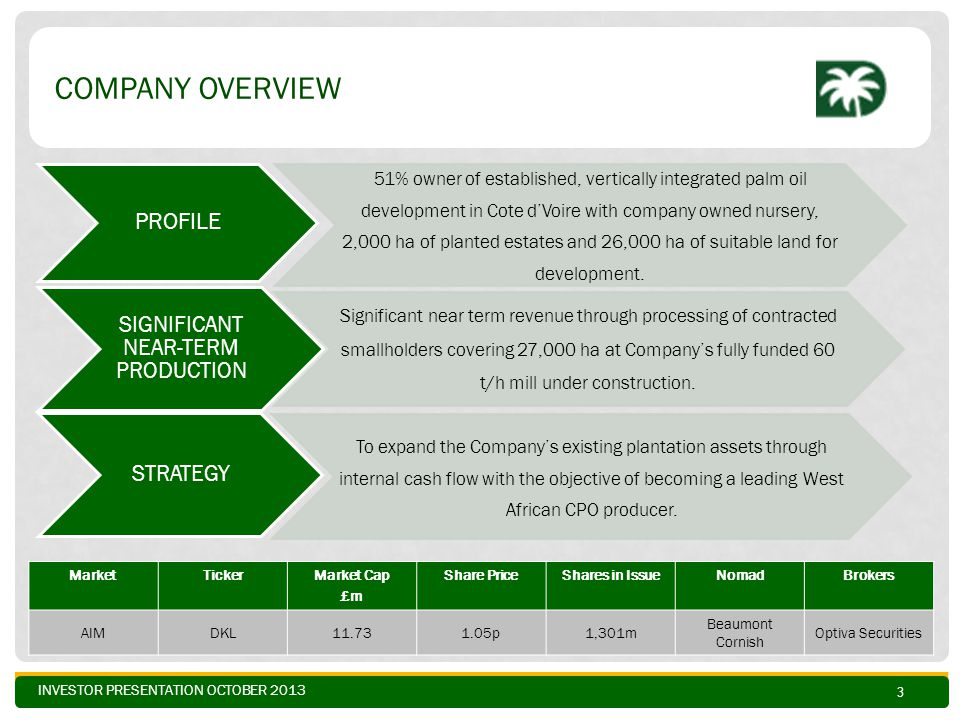 INVESTOR PRESENTATION OCTOBER 2013 COMPANY OVERVIEW PROFILE 51% owner of established, vertically integrated palm oil development in Cote d'Voire with company owned nursery, 2,000 ha of planted estates and 26,000 ha of suitable land for development.