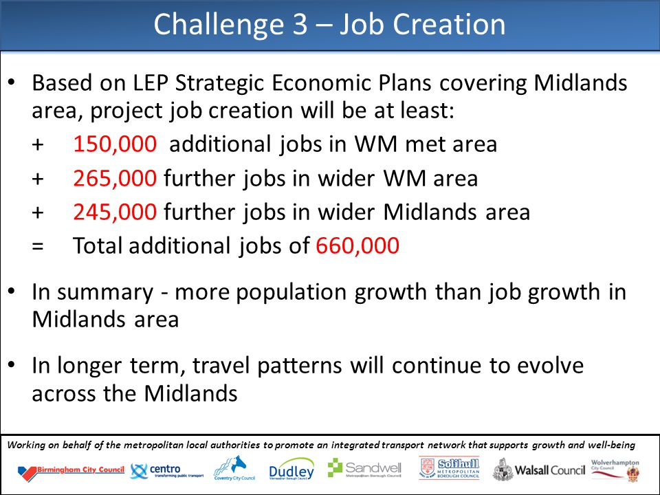 Working on behalf of the metropolitan local authorities to promote an integrated transport network that supports growth and well-being Based on LEP Strategic Economic Plans covering Midlands area, project job creation will be at least: + 150,000 additional jobs in WM met area + 265,000 further jobs in wider WM area +245,000 further jobs in wider Midlands area = Total additional jobs of 660,000 In summary - more population growth than job growth in Midlands area In longer term, travel patterns will continue to evolve across the Midlands Challenge 3 – Job Creation