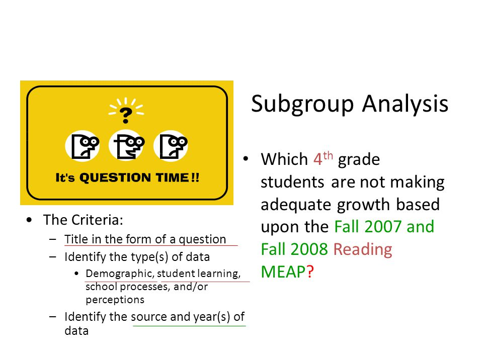 Subgroup Analysis Which 4 th grade students are not making adequate growth based upon the Fall 2007 and Fall 2008 Reading MEAP.