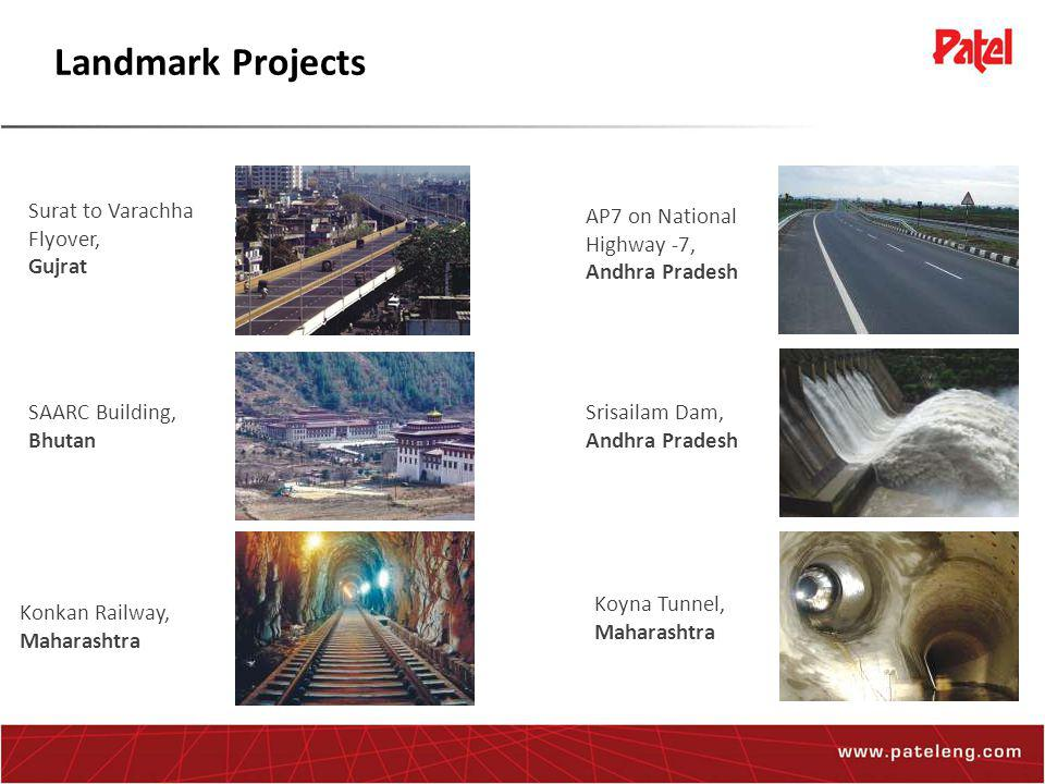 Landmark Projects Surat to Varachha Flyover, Gujrat SAARC Building, Bhutan Konkan Railway, Maharashtra AP7 on National Highway -7, Andhra Pradesh Srisailam Dam, Andhra Pradesh Koyna Tunnel, Maharashtra