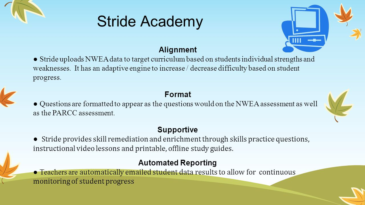 Stride Academy Alignment ● Stride uploads NWEA data to target curriculum based on students individual strengths and weaknesses. It has an adaptive eng