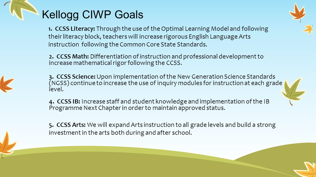 1. CCSS Literacy: Through the use of the Optimal Learning Model and following their literacy block, teachers will increase rigorous English Language A