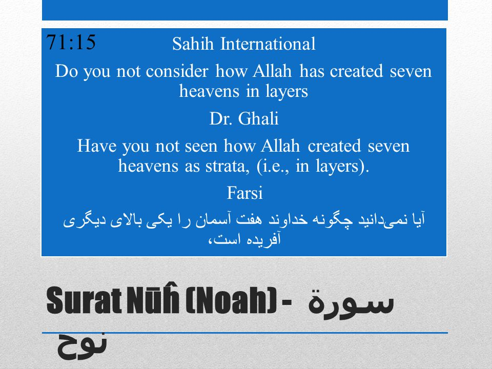 Surat Nūĥ (Noah) - سورة نوح Sahih International Do you not consider how Allah has created seven heavens in layers Dr.