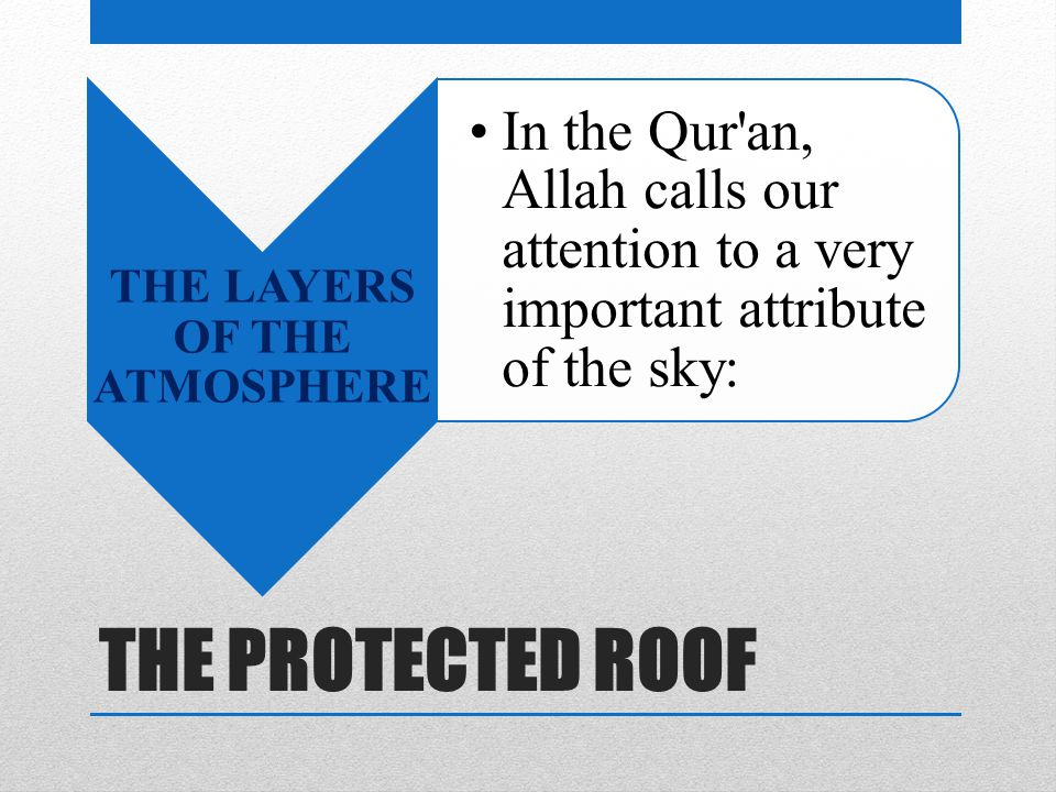 THE PROTECTED ROOF THE LAYERS OF THE ATMOSPHERE In the Qur an, Allah calls our attention to a very important attribute of the sky: