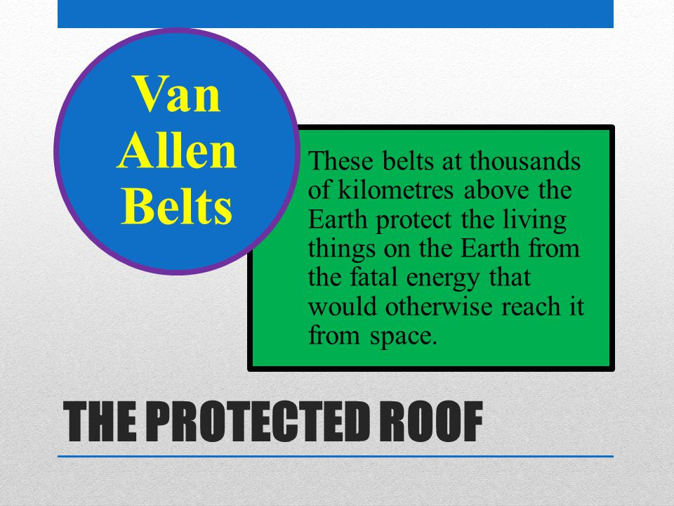 THE PROTECTED ROOF These belts at thousands of kilometres above the Earth protect the living things on the Earth from the fatal energy that would otherwise reach it from space.