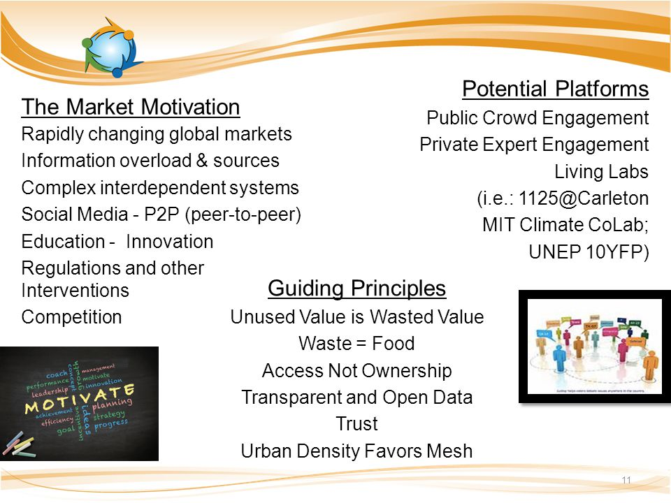 The Market Motivation Rapidly changing global markets Information overload & sources Complex interdependent systems Social Media - P2P (peer-to-peer) Education - Innovation Regulations and other Interventions Competition 11 Potential Platforms Public Crowd Engagement Private Expert Engagement Living Labs (i.e.: 1125@Carleton MIT Climate CoLab; UNEP 10YFP) Guiding Principles Unused Value is Wasted Value Waste = Food Access Not Ownership Transparent and Open Data Trust Urban Density Favors Mesh