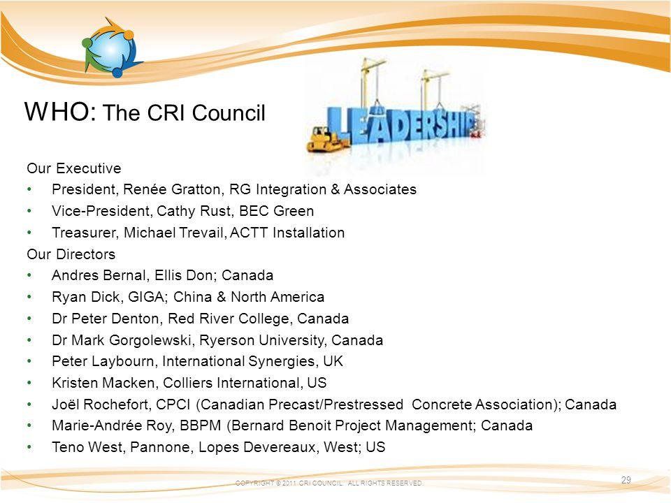 WHO: The CRI Council COPYRIGHT © 2011 CRI COUNCIL.