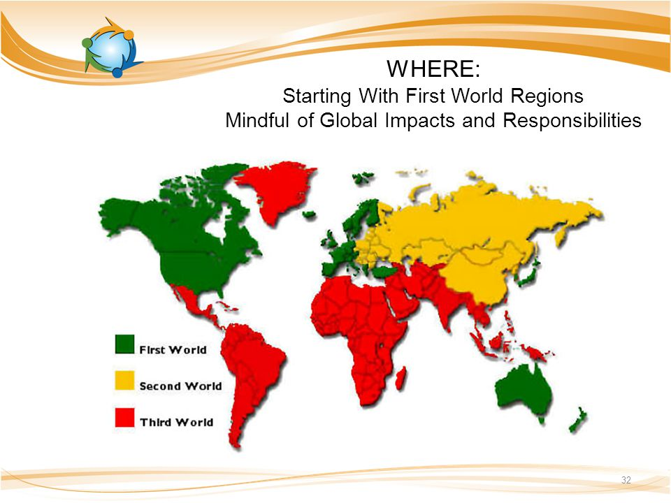 WHERE: Starting With First World Regions Mindful of Global Impacts and Responsibilities 32
