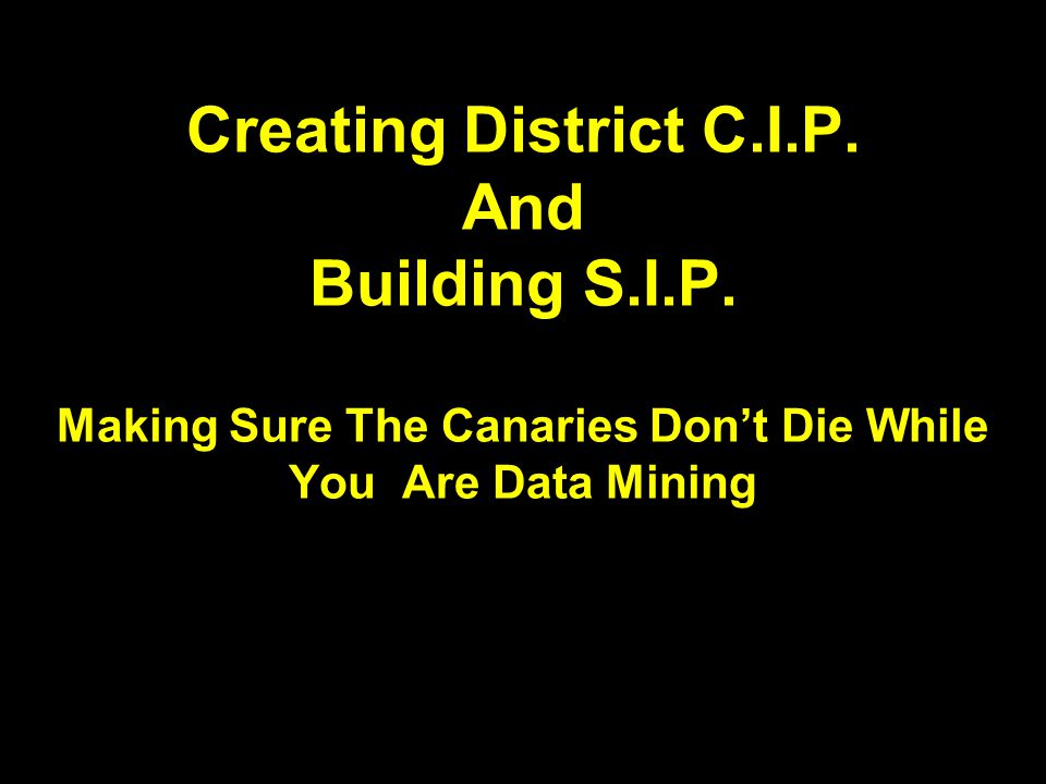 Creating District C.I.P. And Building S.I.P.