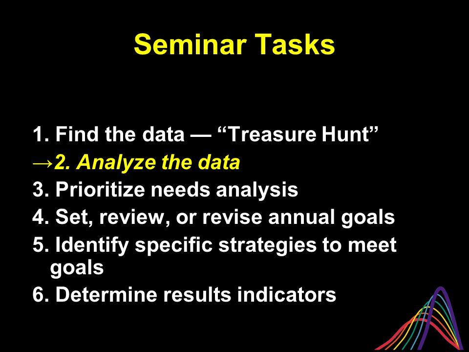 Seminar Tasks 1. Find the data — Treasure Hunt →2.