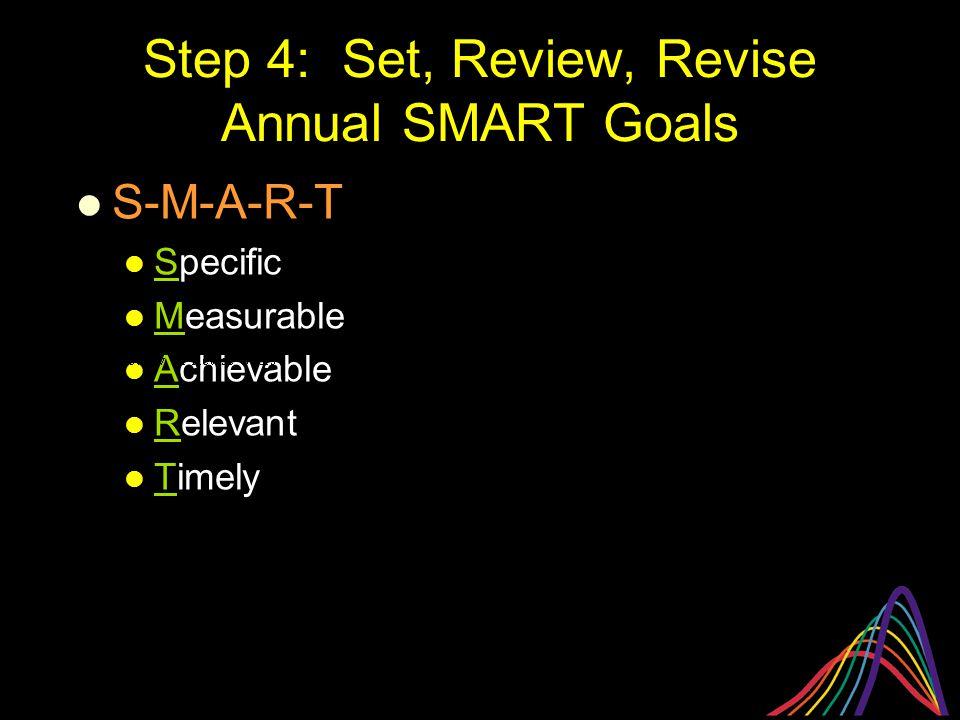 Step 4: Set, Review, Revise Annual SMART Goals S-M-A-R-T Specific Measurable Achievable Relevant Timely