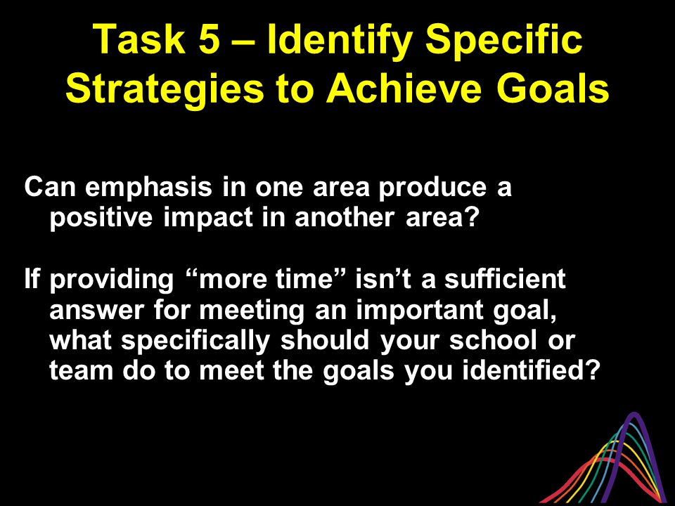 Task 5 – Identify Specific Strategies to Achieve Goals Can emphasis in one area produce a positive impact in another area.