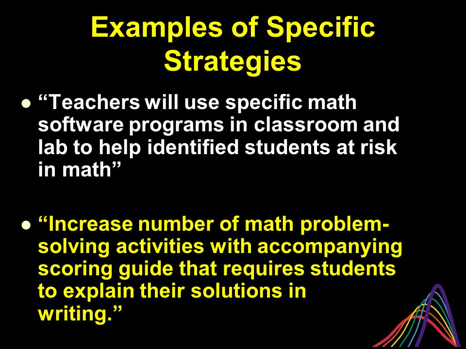Examples of Specific Strategies Teachers will use specific math software programs in classroom and lab to help identified students at risk in math Increase number of math problem- solving activities with accompanying scoring guide that requires students to explain their solutions in writing.