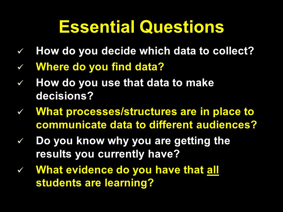 Essential Questions How do you decide which data to collect? Where do you find data? How do you use that data to make decisions? What processes/struct