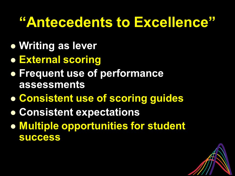 """""""Antecedents to Excellence"""" Writing as lever External scoring Frequent use of performance assessments Consistent use of scoring guides Consistent expe"""