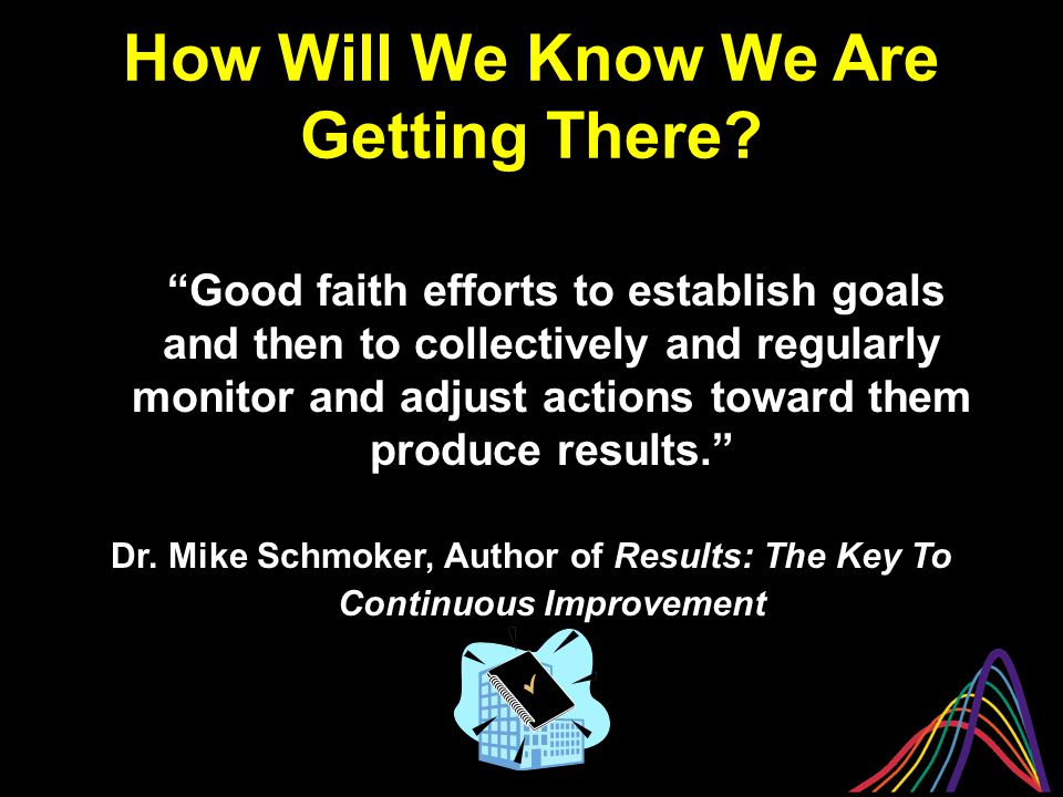 """""""Good faith efforts to establish goals and then to collectively and regularly monitor and adjust actions toward them produce results."""" Dr. Mike Schmok"""