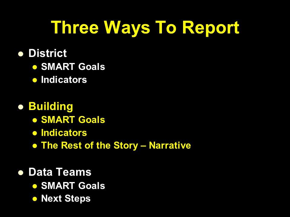 Three Ways To Report District SMART Goals Indicators Building SMART Goals Indicators The Rest of the Story – Narrative Data Teams SMART Goals Next Steps
