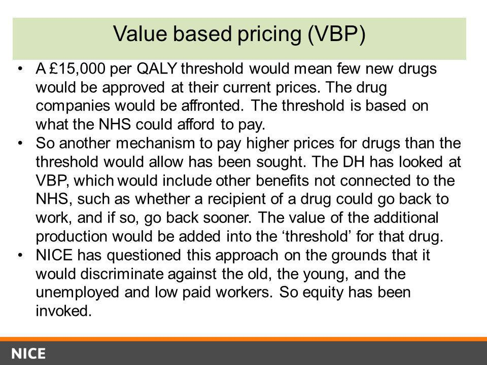 Value based pricing (VBP) A £15,000 per QALY threshold would mean few new drugs would be approved at their current prices. The drug companies would be