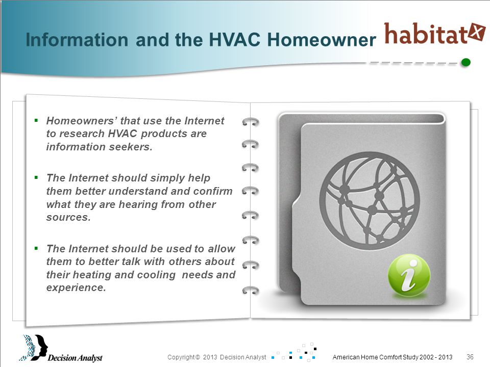 Prepared For: Copyright © 2013 Decision Analyst American Home Comfort Study 2002 - 2013 36  Homeowners' that use the Internet to research HVAC products are information seekers.