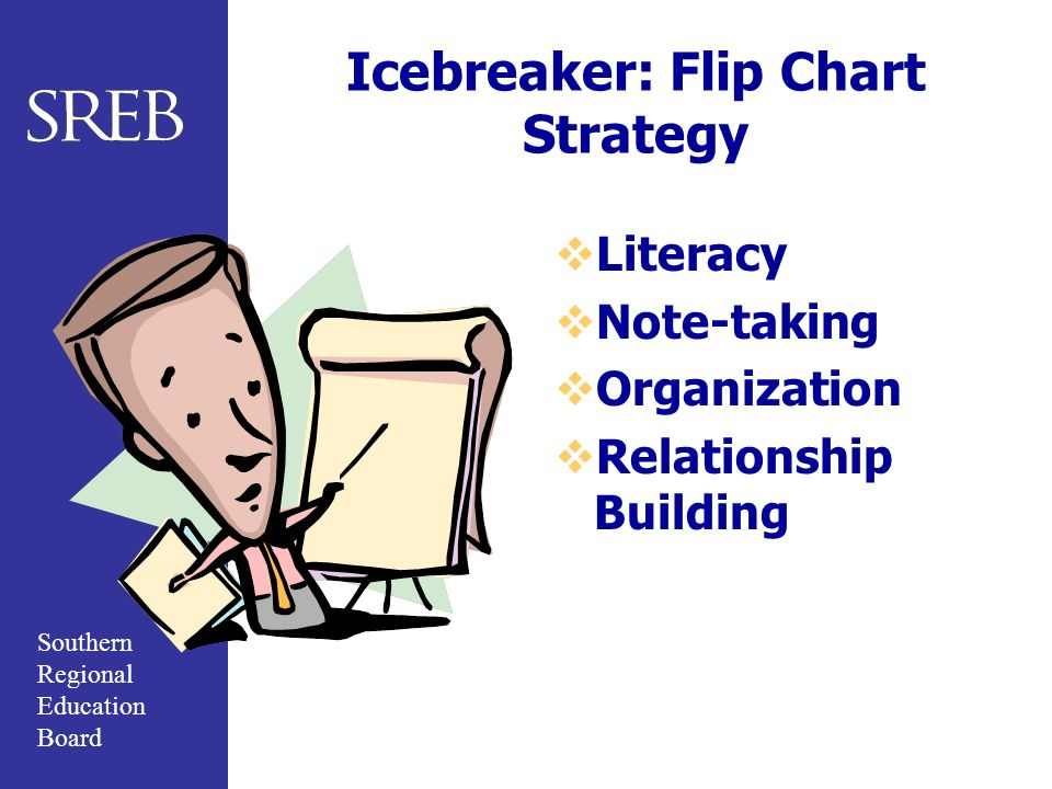 Southern Regional Education Board Icebreaker: Flip Chart Strategy  Literacy  Note-taking  Organization  Relationship Building