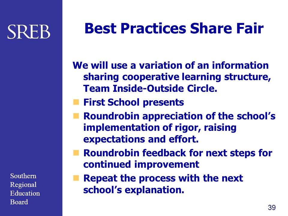 Southern Regional Education Board Best Practices Share Fair We will use a variation of an information sharing cooperative learning structure, Team Inside-Outside Circle.