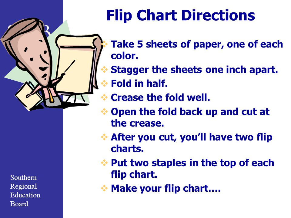 Southern Regional Education Board Flip Chart Directions  Take 5 sheets of paper, one of each color.