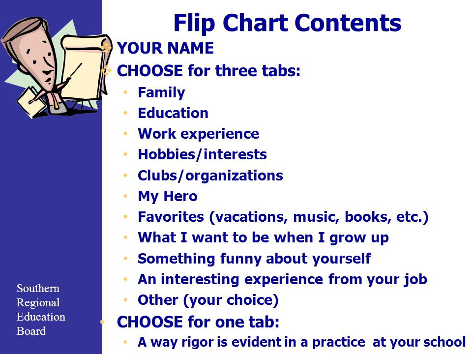 Southern Regional Education Board Flip Chart Contents  YOUR NAME  CHOOSE for three tabs: Family Education Work experience Hobbies/interests Clubs/organizations My Hero Favorites (vacations, music, books, etc.) What I want to be when I grow up Something funny about yourself An interesting experience from your job Other (your choice) CHOOSE for one tab: A way rigor is evident in a practice at your school