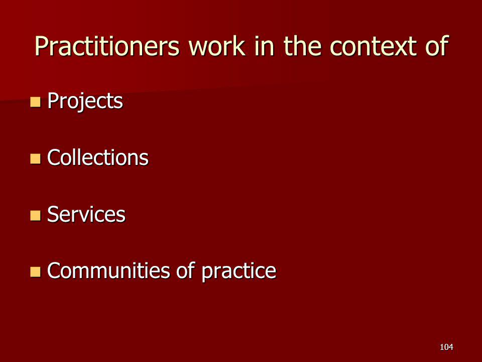 Practitioners work in the context of Projects Projects Collections Collections Services Services Communities of practice Communities of practice 104