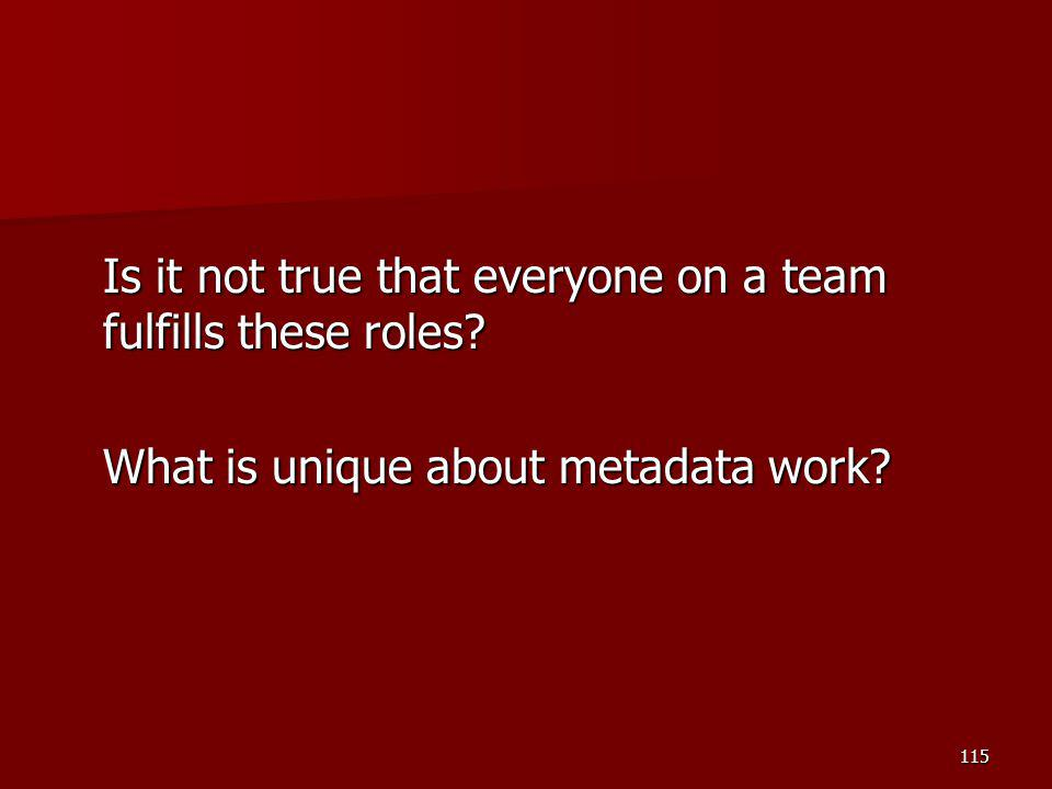 Is it not true that everyone on a team fulfills these roles? What is unique about metadata work? 115