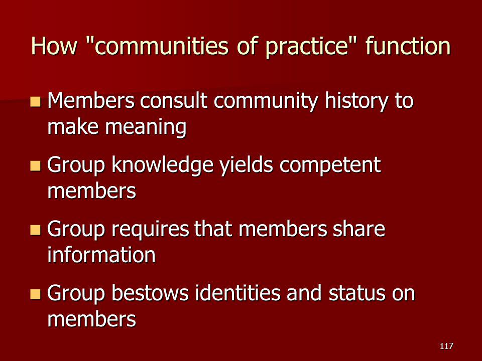 How communities of practice function Members consult community history to make meaning Members consult community history to make meaning Group knowledge yields competent members Group knowledge yields competent members Group requires that members share information Group requires that members share information Group bestows identities and status on members Group bestows identities and status on members 117