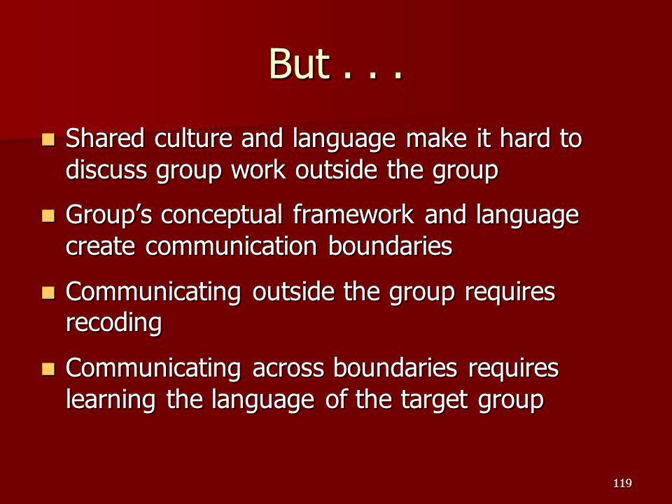 But... Shared culture and language make it hard to discuss group work outside the group Shared culture and language make it hard to discuss group work