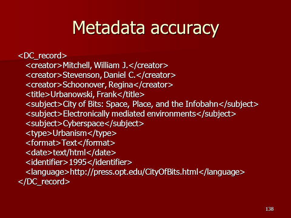 Metadata accuracy <DC_record> Mitchell, William J.