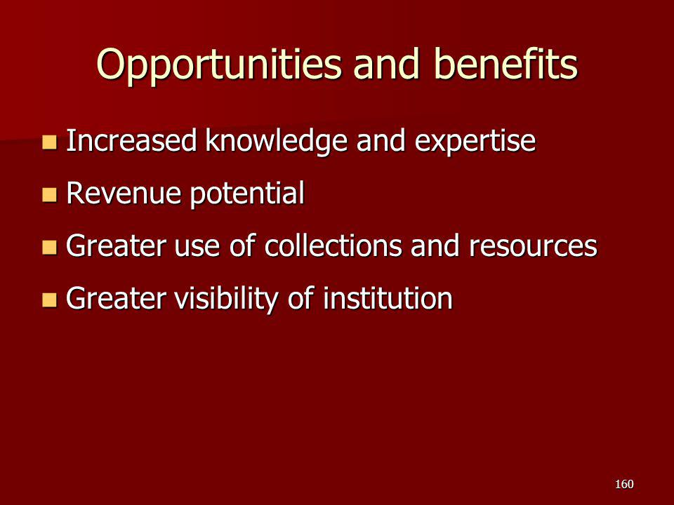 Opportunities and benefits Increased knowledge and expertise Increased knowledge and expertise Revenue potential Revenue potential Greater use of coll