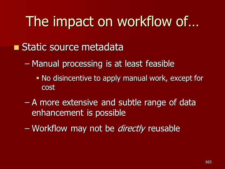 The impact on workflow of… Static source metadata Static source metadata –Manual processing is at least feasible  No disincentive to apply manual wor