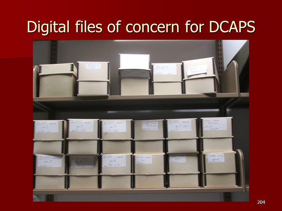 Digital files of concern for DCAPS 204