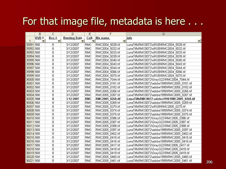 For that image file, metadata is here... 206