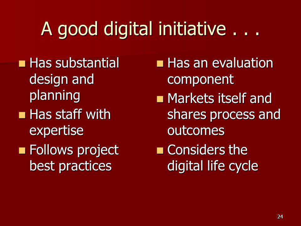 A good digital initiative...