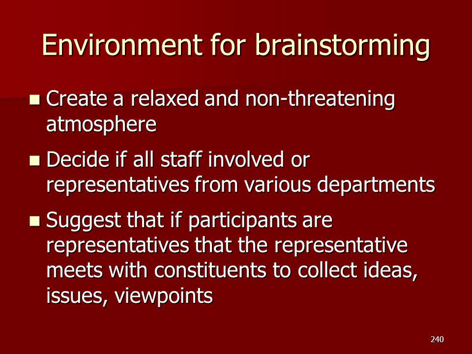 Environment for brainstorming Create a relaxed and non-threatening atmosphere Create a relaxed and non-threatening atmosphere Decide if all staff invo